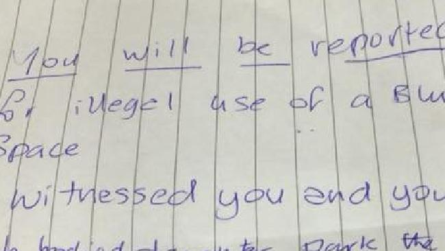 'You will be reported,' the vile note began. Picture: Facebook/Alan Tanner