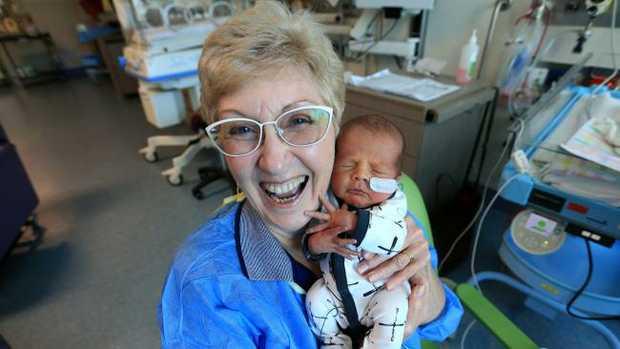 Cuddle mum Diane Haydon with baby Harvey Morrison. Picture: Jamie Hanson