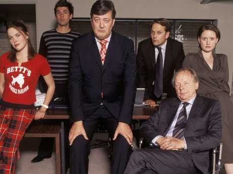 Absolute Power cast actors (L-R) Sally Bretton, James Lance, Stephen Fry, Nick Burns, John Bird & Alison Jackman. Picture:  Supplied