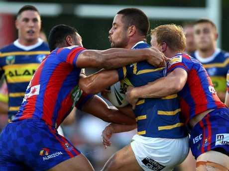 Jarryd Hayne of the Eels is tackled.