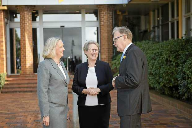 EQUALITY: USQ's Deputy Chancellor Jan Boys (left) with Vice-Chancellor Professor Geraldine Mackenzie and Chancellor John Dornbusch.