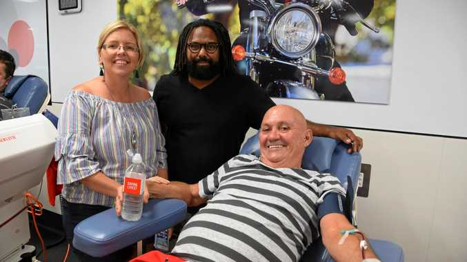 Jeremy Marou with his friend, Bob Zerner, who donated blood with Team Brendan on Saturday.