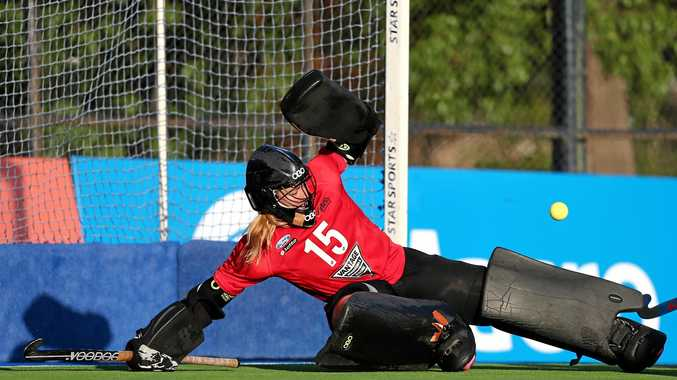 ON TARGET: New Zealand Black Sticks goalkeeper Grace O'Hanlon during the Test series against Argentina at Buenos Aires. Argentina led the five-match series 2-1 before the fourth game was played this morning.