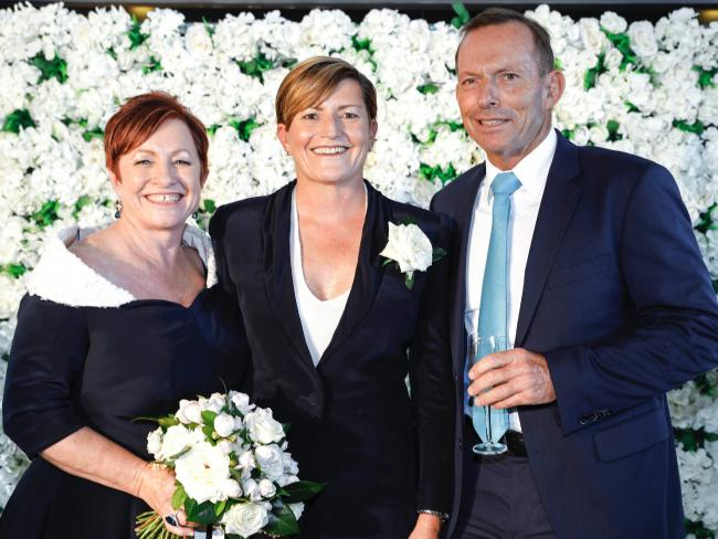 Tony Abbott at sister Christine Forster's wedding with wife Virginia. Picture: Supplied