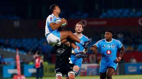 Bulls fullback Divan Rossouw jumps for the ball in Pretoria.