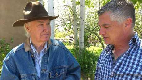 SBS Dateline correspondent Nick Lazaredes interviews Forrest Fenn at his Santa Fe mansion. Photo: Dal Neitzel