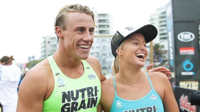 Matt Bevilacqua and Brielle Cooper celebrate their wins. Picture: Brett Costello