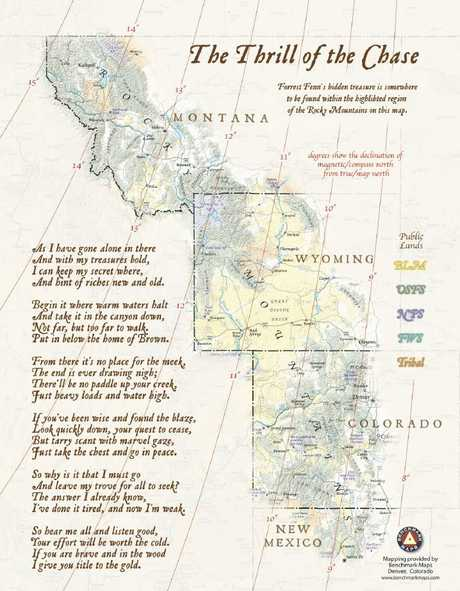 The map and clues provided by Forrest Fenn. Picture: Benchmark Maps/Courtesy of Forrest Fenn
