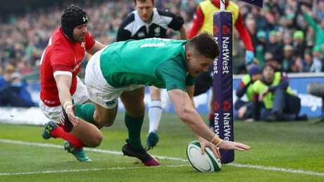 Jacob Stockdale of Ireland dives in for a first half try at Aviva Stadium.