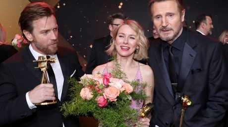 Ewan McGregor with Aussie actress  Naomi Watts and Liam Neeson at the Golden Camera awards in Hamburg last week.