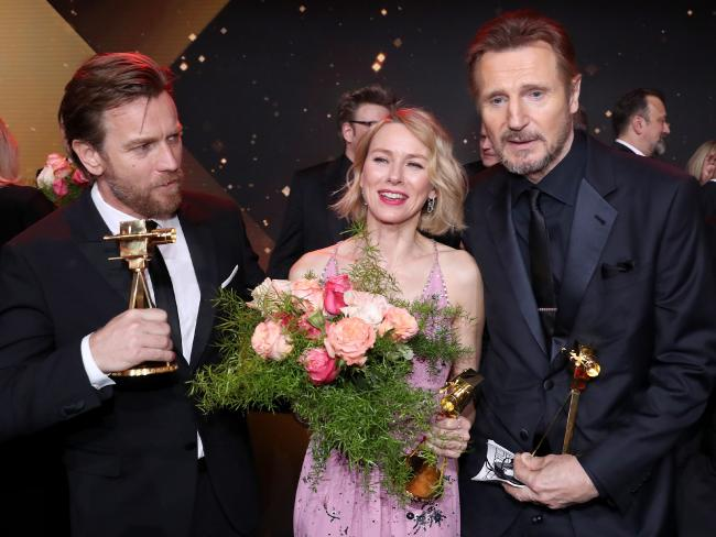 Ewan McGregor with Aussie actress  Naomi Watts and Liam Neeson at the Golden Camera awards in Hamburg last week.