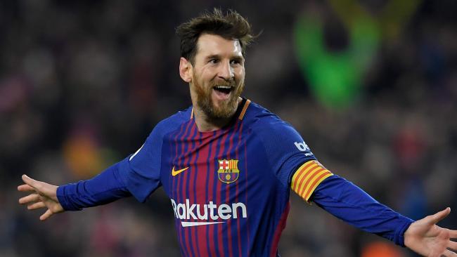 Barcelona's Argentinian forward Lionel Messi celebrates