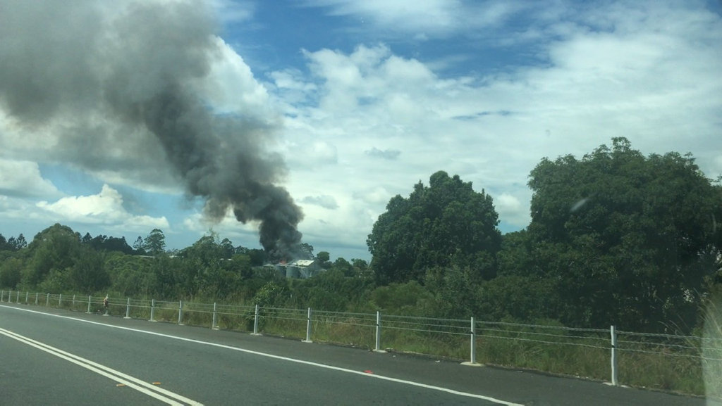 Fire at Macadamia Australia as viewed passing on the road.