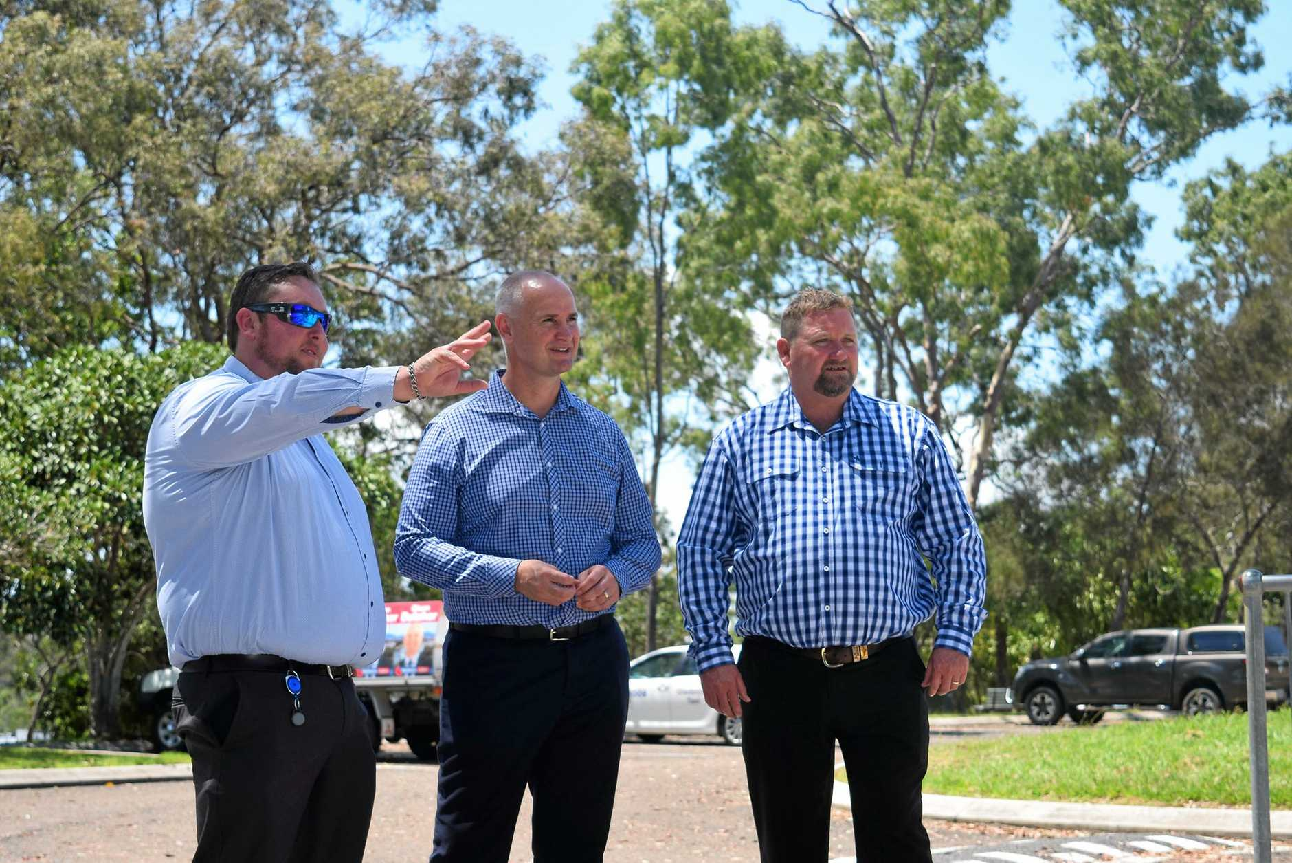 WELCOMED HERE: Gladstone Region councillor Kahn Goodluck, member for Gladstone Glenn Butcher and councillor Peter Masters at the area where the new pump track in Boyne Island will be built.
