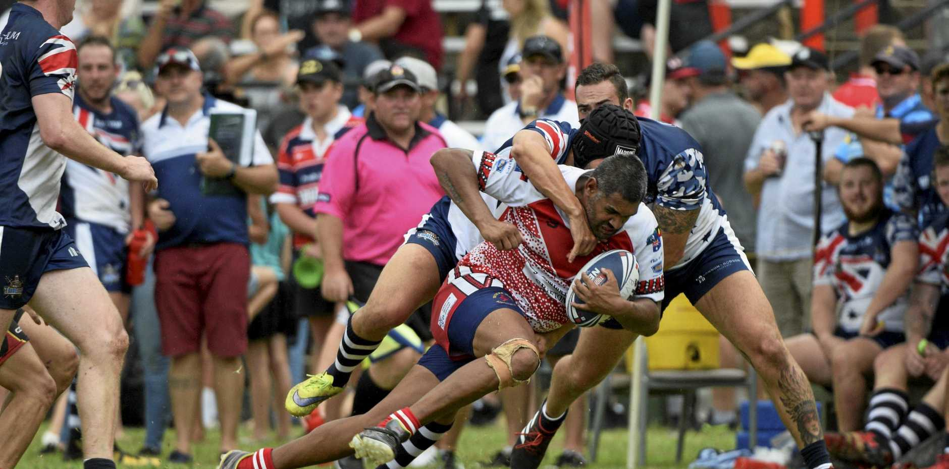 FIGHT FOR METRES: A familiar face in Dwayn Duke made his return for the Rebels.