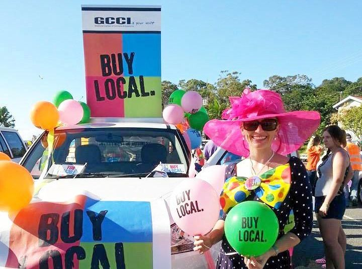 Gladstone Chamber of Commerce and Industry secretary Alicia Williams with the Buy Local float.