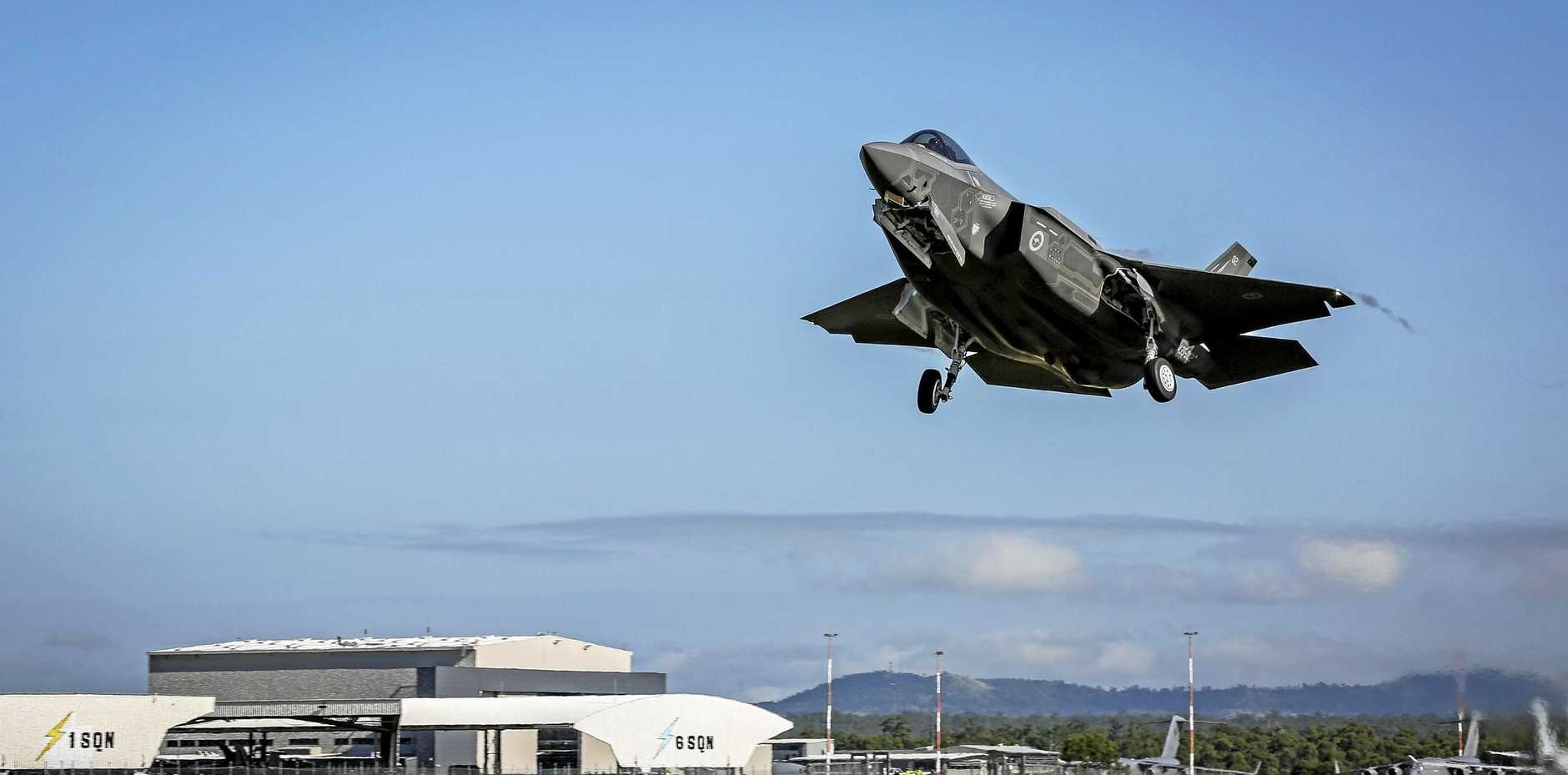 FLYING: F-35 Lightning II departs RAAF Base Amberley, which has not seen its highway entrance upgraded for more than 70 years.
