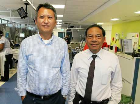 CQ Health's two nephrologists (kidney specialists) Dr Zaw Thet (left) and Dr Thin Han (right) in the Renal Unit at Rockhampton Hospital