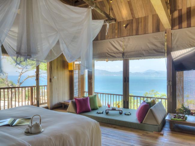 Hilltop Reserve Master Bedroom, Six Senses Ninh Van Bay. Picture: Russ Kientsch.