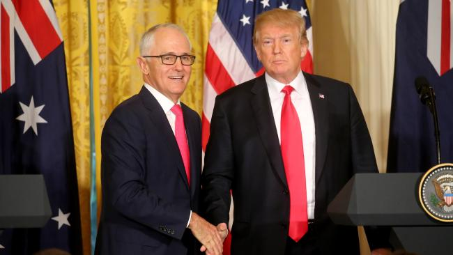 Donald Trump and Malcolm Turnbull at the White House. Picture: Nathan Edwards