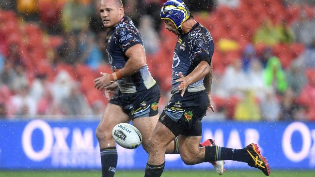 Johnathan Thurston set up the winning try for the Cowboys.