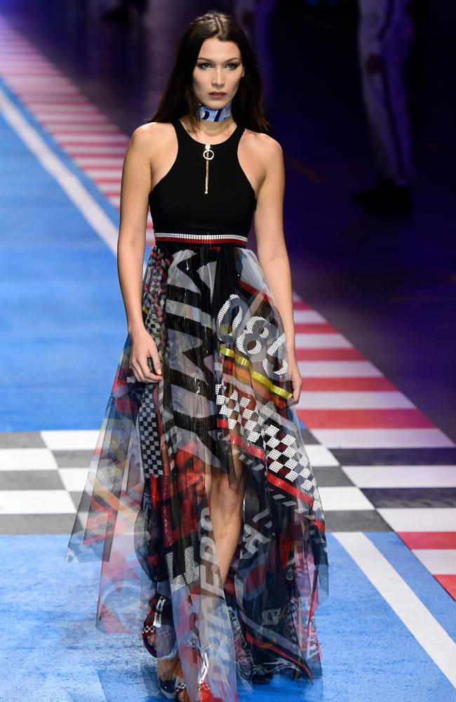 Gigi's younger sister Bella Hadid also modelled in the Tommy x Gigi show. Picture: AP