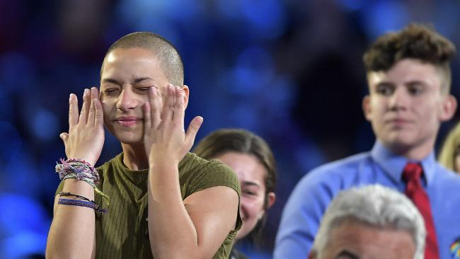 Marjory Stoneman Douglas High School student Emma Gonzalez wipes away tears during a CNN town hall meeting.