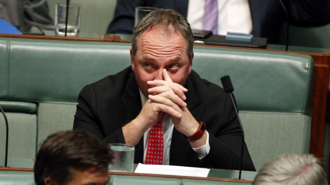 Backbench Barnaby: Joyce entered the House of Representatives and took up his seat on the backbench for Question Time in the House of Representatives today. Picture: Gary Ramage