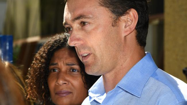 Gabrielle Catan (left) and Simon Tate (right) address the media outside of the Coroners Court of Victoria on Monday. Picture: James Ross/AAP