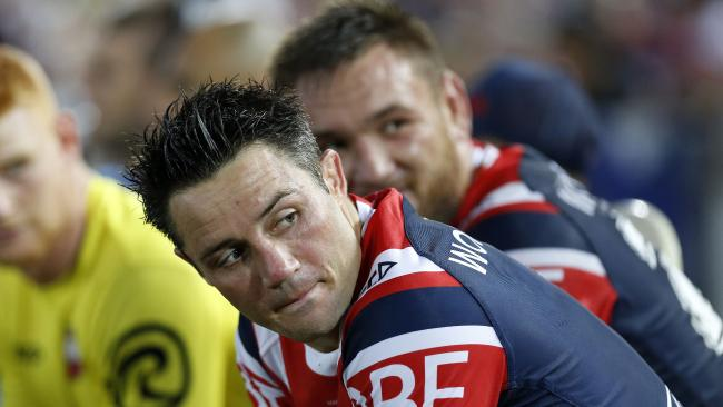 Cooper Cronk of the Roosters during the NRL pre-season match between the Manly Sea Eagles and the Sydney Roosters at Central Coast Stadium in Gosford, Saturday, February 24, 2018. (AAP Image/Darren Pateman) NO ARCHIVING, EDITORIAL USE ONLY