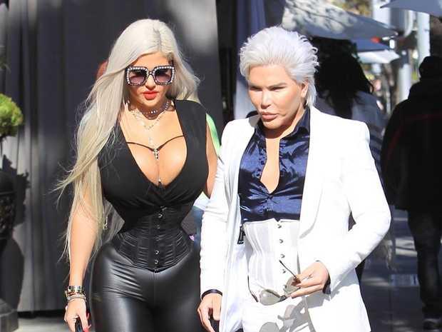 Sophia Vegas and Rodrigo Alves, aka The Human Ken doll, grab lunch together at Villa Blanca. Source: Yellow Mamba / BACKGRID