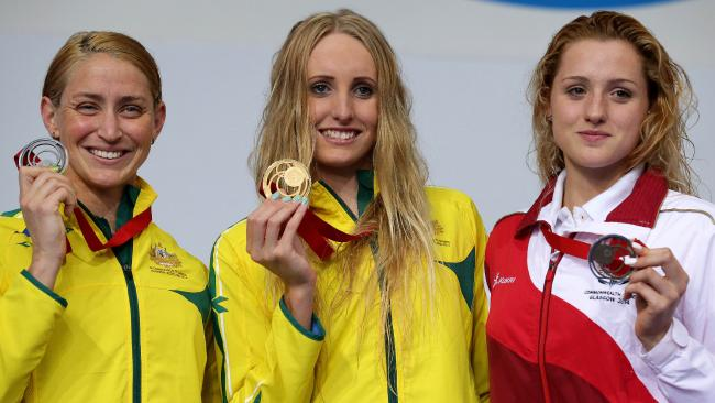 Taylor McKeown (centre) with her Glasgow gold. Picture: Adam Head
