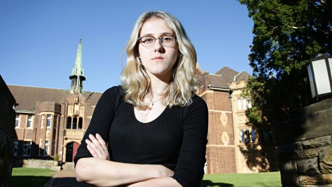 Justine Landis-Hanley is one of the few students who've tried to speak out against the culture at some colleges. Picture: Adam Yip/ The Australian Exclusive: O-Week manual of horrors