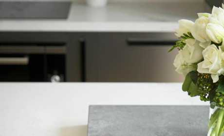 Caesarstone's Concrete range presents the authentic look of a hand-poured concrete benchtop, which blends well with neutral palettes and raw timber finishes.