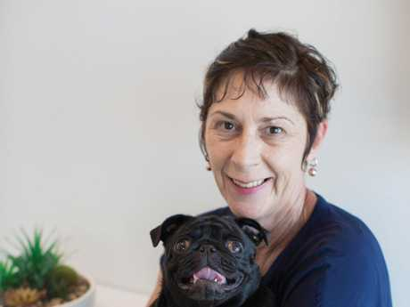 Quilla Mandie Houston with her pug Quilla.