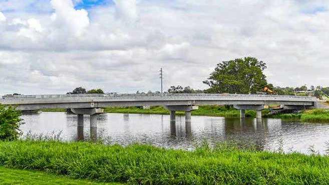 The new bridge at Lawrence crossing Sportsman Creek.