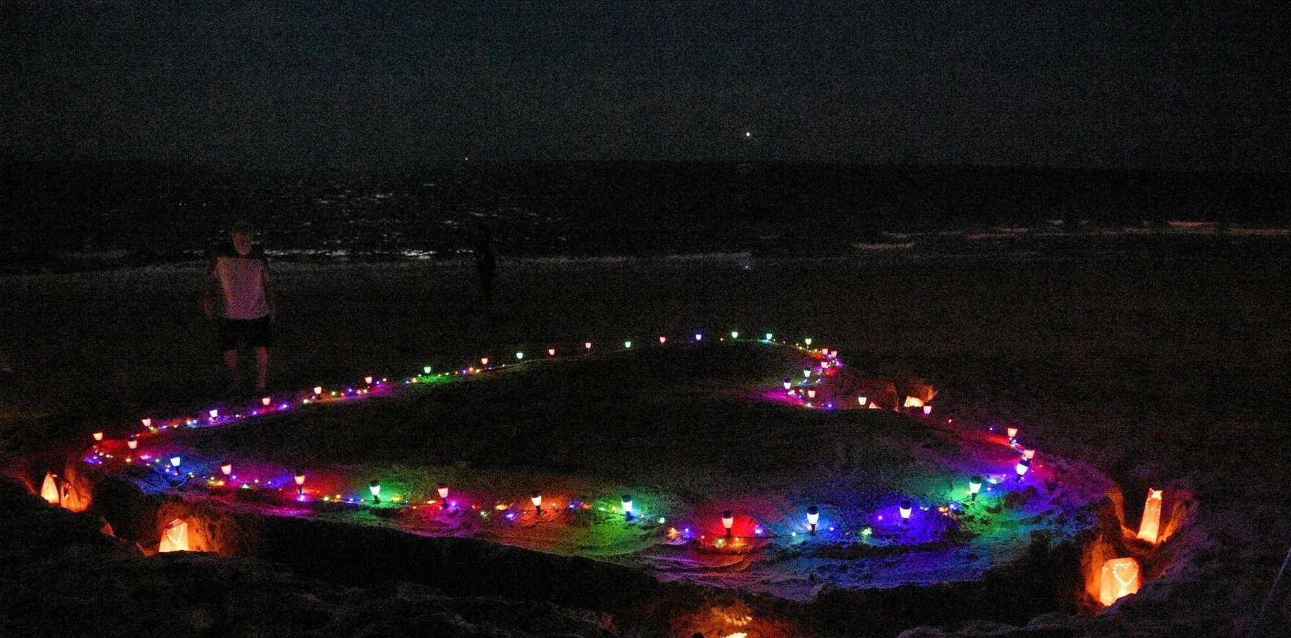 Bayside Transformations Recovery Walk - illuminated heart on Torquay Beach.