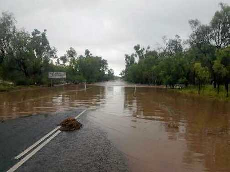 The Gregory Hwy between Emerald and Springsure just 5km north of Springsure. 100 to 200mm fell across the district very early this morning due to a slow moving storm. A number of roads are cut due to flooding. Image sent to Higgins Storm Chasing by Darcy Miller.