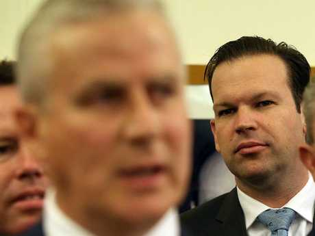 Matt Canavan looks on yesterday as new Nationals leader Michael McCormack addresses the media. Picture: Kym Smith