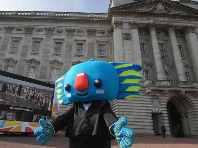 Borobi, the mascot for the 2018 Gold Coast Commonwealth Games poses on the forecourt of Buckingham Palace in London. Picture: AFP/Toby Melville