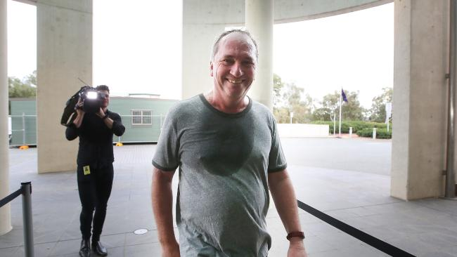 Former deputy prime minister and Nationals leader Barnaby Joyce working up a sweat at Parliament House. Picture: Kym Smith