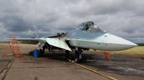 This Su-57 prototype shows the signs of a major engine fire.