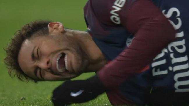 Neymar writhes in pain after his injury