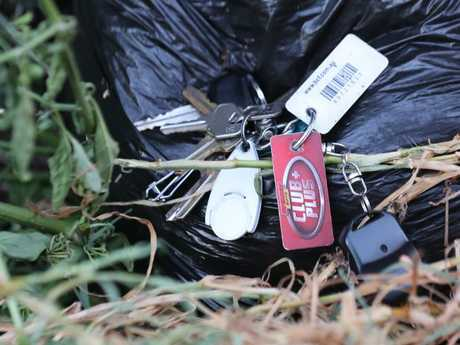 Car keys found dumped in a garden in Albion where a home invasion took place. Picture: David Crosling