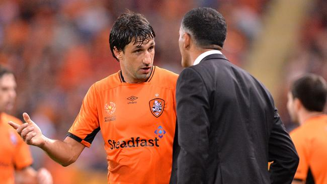 Thomas Broich talks tactics with John Aloisi last season.