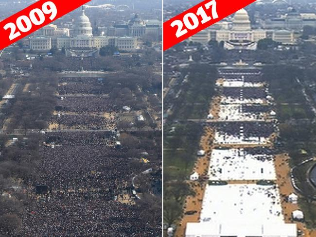 This pair of photos shows a view of the crowd on the National Mall at the inaugurations of President Barack Obama, above, on Jan. 20, 2009, and President Donald Trump, below, on Jan. 20, 2017. Picture: AP