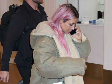 Kim Kardashian was later spotted at an airport in Tokyo. Picture: Splash News