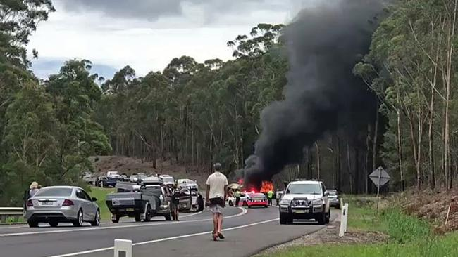 The horrific crash scene which claimed the lives of the Falkholt family. Picture: Seven News Sydney