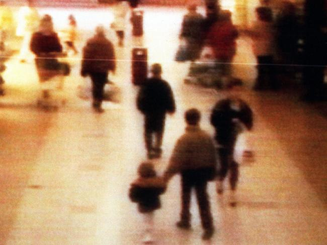 A surveillance camera shows the abduction of two-year-old James Bulger from a shopping mall in Liverpool on February 12, 1993. Picture: BWP Media/Getty Images