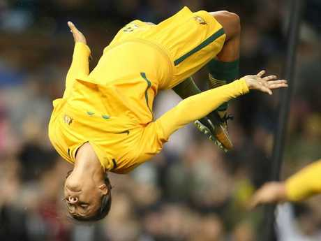 Sam Kerr celebrates. Pic: Getty Images
